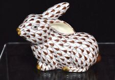 HEREND, SMALL LYING RABBIT W/ EAR UP PORCELAIN FIGURINE, CHOCOLATE, FLAWLESS