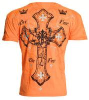 Archaic AFFLICTION Mens T-Shirt GLORY Cross Tattoo Biker MMA M-4XL $40 b