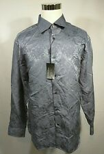 NWT Jhane Barnes Crackled Texture Gray L/S Button Front Casual Shirt Mens XXL