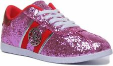 Guess Fl6Rylfam12 A-Rylinn Eu Lace Up Glitter Trainer In Pink Size Uk 3 - 8