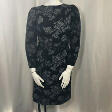 Vtg 80s California Looks Black Gray Floral Dress Sz 10 Belted Stretch Usa