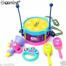 5pcs Kids Baby Roll Drum Musical Instruments Band Kit Children Toy Xmas Gift Set