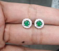 Deal! 0.90 CTW Genuine Natural Emerald & Diamond Stud Halo Earrings 14K Gold