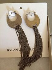 NWT Banana Republic Antique Brass Fringe Tassel Dangle Chai Earrings Jewelry $45