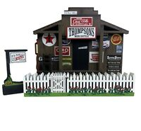 SHELIA'S COLLECTIBLES COLLECTIBLE HOUSES VINTAGE WOODEN STORE FENCE & SIGN 3 LOT