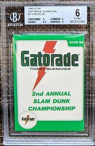 1985 STAR GATORADE SLAM DUNK #1 CHECKLIST W/ MICHAEL JORDAN BGS 6 w 9.5 & 2 9s !