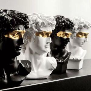 Sculpture Masked Bust Gold Decor Head Ornament Bookcase Classical Sculpture