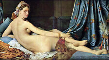 """Huge Oil painting Ingres - Grande Odalisque Nude girl on bed & fan canvas 36"""""""
