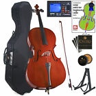 Cecilio 4/4 3/4 1/2 1/4 Student Cello +Hard & Soft Case +Tuner+Book ~CCO-100+HC