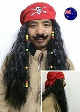 Men Boys Lady Pirate Caribbean Jack wig beard red bandana Halloween Party Prop