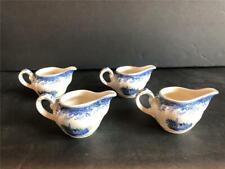 4 Villeroy Boch Burgenland Blue & White China Individual Cream pitchers Mettlach