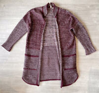 White Stuff Plum Cardigan Jumper Size 10 Mohair Wool Blend Warm Long Length