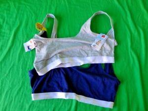 Hanes Women's Boyfriend Stretch 2-Pack Comfy Cotton Bras Navy & Gray Colors New