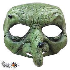 Verde malvada bruja Verruga Nariz realista Disfraz Elaborado Vestido Horror Máscara Media Cara