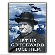 Winston Churchill lasciarci andare avanti WW2 seconda guerra mondiale in metallo Insegna Placca Parete Stampa Poster