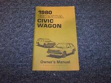 1980 Honda Civic Wagon Owner Owner's Manual User Guide Book 1300 1500
