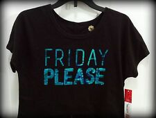 """NWT """"Friday Please"""" in TQ Sequins on Black Crop Tee  by Total Girl, Sz S 7/8"""