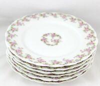 ANTIQUE SET 6 SALAD PLATES ELITE LIMOGES FRANCE CHINA PINK ROSE EMBOSSED WHITE