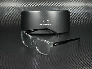ARMANI EXCHANGE AX3016 8239 Transparent Smoke Demo Lens 53 mm Men's Eyeglasses