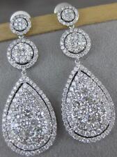 LARGE PAVE 5.11CTW DIAMOND 14K W GOLD ROUND PEAR HALO DROPS EARRINGS 42M KE09370