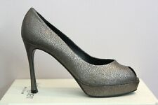 YSL Yves Saint Laurent Metallic Peep Toe Palais 80 Platform Pumps 41.5 11.5 $795