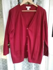 Ladies Red Cardigan Daxon UK size 26 with Pale Gold Buttons & Pockets