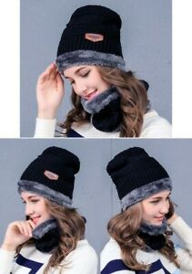 Cappellino caldo invernale unisex uomo donna nero con interno e bordo grigio