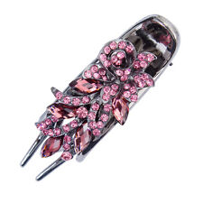 Rose Red Ladies Rhinestone Crystal Hair Barrettes Hairpin Flower Chic Hair Clips