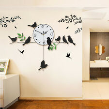 FR_ EG_Creative OISEAUX Analogue Silencieux Quartz balançoire Horloge murale