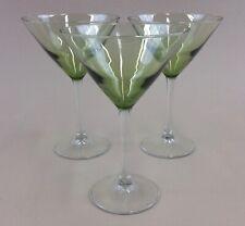 "martini glasses olive green clear stem 7.25"" tall 8 oz.'s (set of 3)"