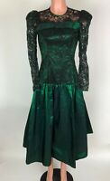 Dance Allure Alfred Angelo Womens Dress Green Black Lace Vintage 80's Sz XS S ?