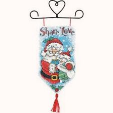 "Counted Cross Stitch Kit SHARE LOVE Banner; Santa Snowman Christmas 5"" x 10"""