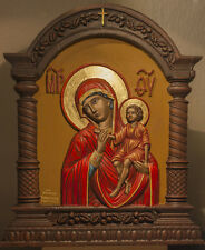 handpainted carved wooden Icon Madonna & Jesus Christ Christian Catholic Russian