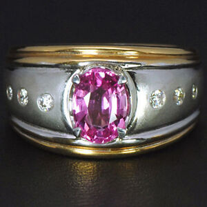 Natural Top Pink Sapphire 14k Gold White Yellow 8.70 gms Diamond Ring Best Gift