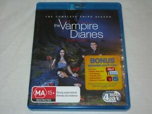 The Vampire Diaries - Complete Season 3 - 4 Disc Set - VGC - Region B - Blu Ray