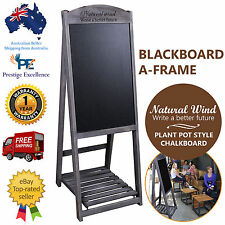 Blackboard A-Frame 110cm Tall Wooden Sign Menu Chalkboard with Flower Plant Rack