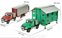1/50 KDW Double-deck rv model, station wagon, deformation alloy model rv.2color