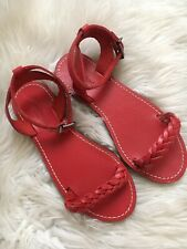 Madewell the braided sightseer sandal size 6 red ankle strap