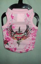 Pink Rock N Roll Forever Heart Dagger Dog Costume Shirt Size S