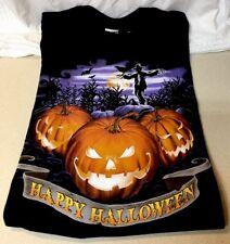 Happy Halloween T-shirt Black w Spooky Jack-O-Lantern & Scarecrow Size M - NEW
