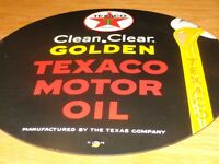 "VINTAGE 1948 CLEAN, CLEAR TEXACO MOTOR OIL 11 3/4"" PORCELAIN METAL GASOLINE SIGN"
