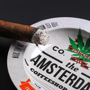Novelty Ashtray Amsterdam Cigarette Tobacco Tin Rolling Metal Smoking Tray #2