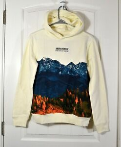 NWT KIDS YOUTH BOYS ABERCROMBIE IVORY HOODIE JACKET PULLOVER SZ 13/14, 15/16