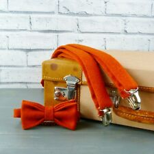 Handmade Yorkshire Tweed Bow Tie and Braces - Burnt Orange Twill