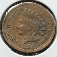 1902 Indian Head Cent 1c High Grade XF - AU Details #10906