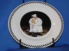 """Chef Design Decorative Black White Check Trim Ceramic Stoneware 8"""" Plate NEW"""