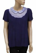 151743 NWD Claudie Pierlot Peter Pan Collar Neck Blue Blouse Top Small S