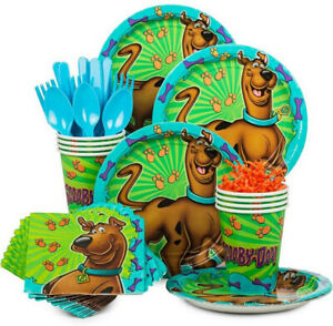 SCOOBY DOO Birthday Party Kit 8 guests Plates Napkins Cups Tablecloth +