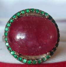BEAUTIFUL! BIG! 20.15 ct NATURAL RUBY,AGATE RING  925 STERLING SILVER.SIZE 7.5.