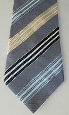 M&S Collezione Silk Tie Marks & Spencer a Righe Crema Blu Da Uomo Liscio Ufficio Wear